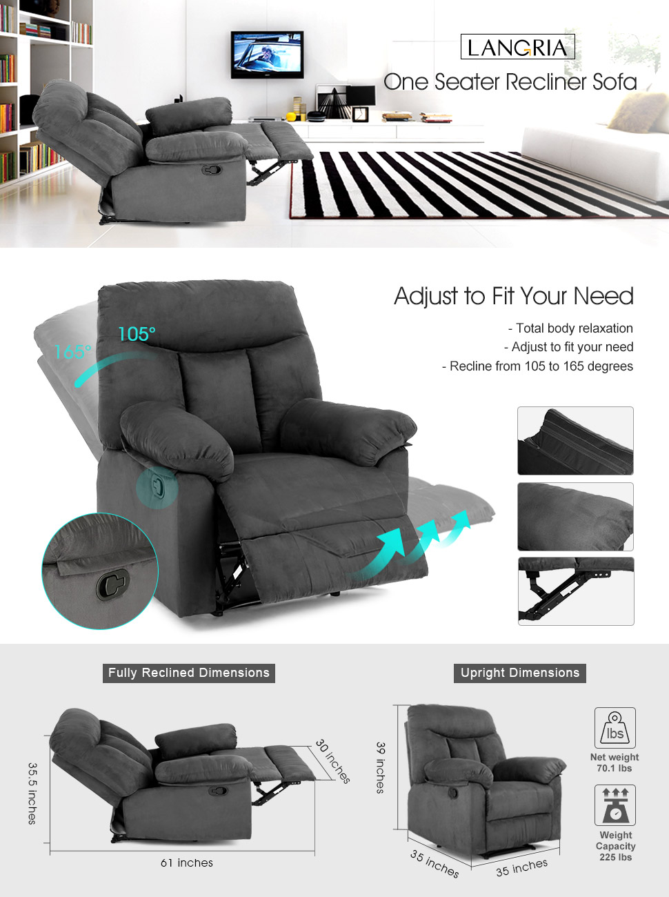 Amazon.com: LANGRIA Living Padded Recliner Sofa Chair Contemporary ...