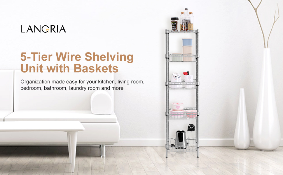 Amazon.com: LANGRIA 5-Tier Wire Shelving Square Tower Shelving ...