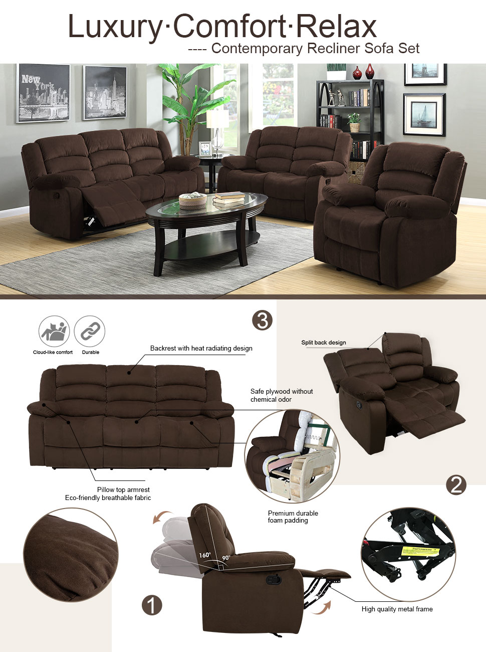 Product description & Amazon.com: LANGRIA 1+2+3 Reclining Velvet Upholstery Loveseat ... islam-shia.org
