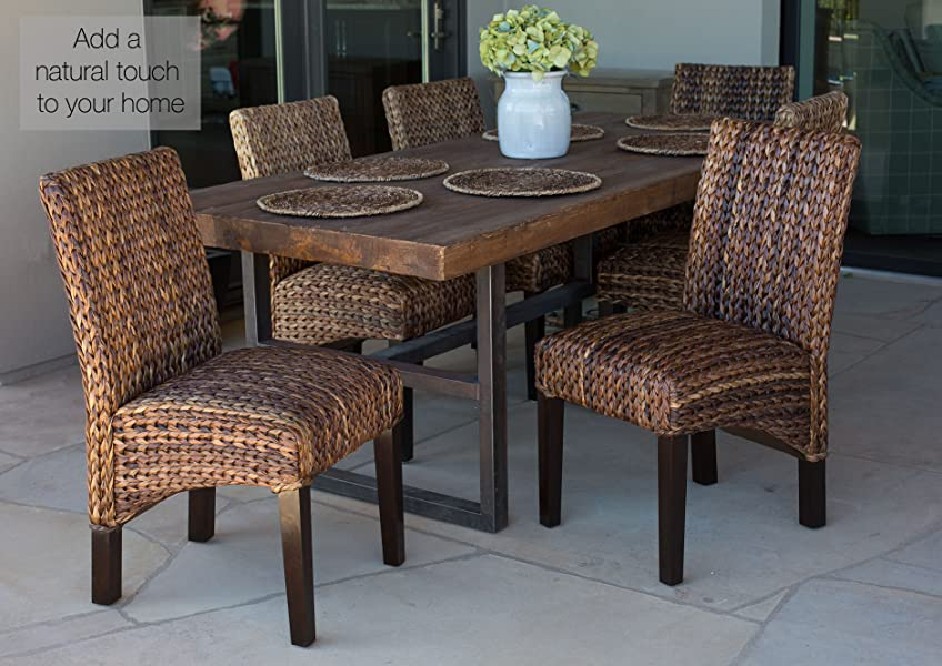Amazon.com - BirdRock Home Abaca and Seagrass Side Chair Set | 2 ...