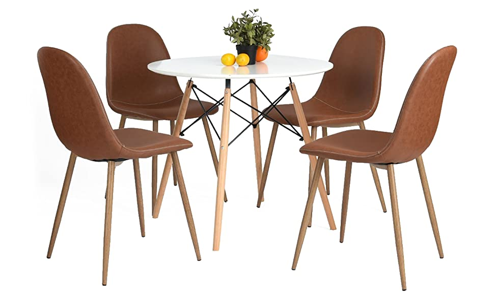 Greenforest eames chairs washable pu leather for Leather eames dining chair