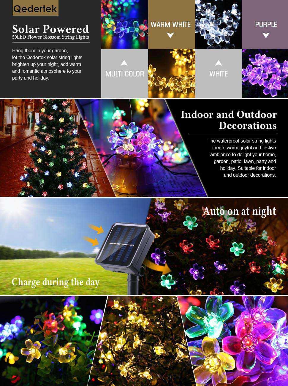 Solar Grave Decorations Qedertek Solar String Lights 21ft 50 Led Fairy Blossom Flower