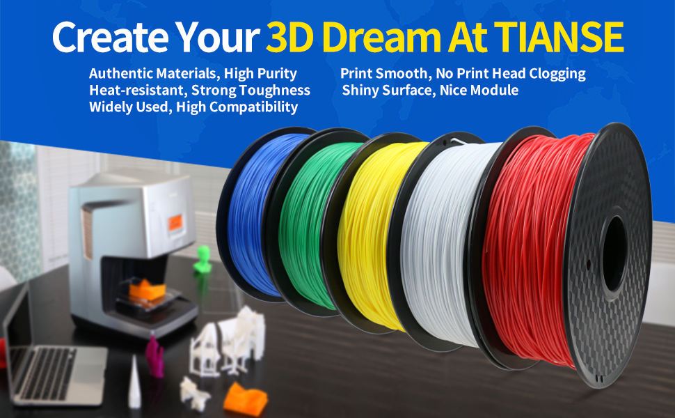 TIANSE White PLA 3D Printer Filament, 1 kg Spool, 1.75 mm, Dimensional