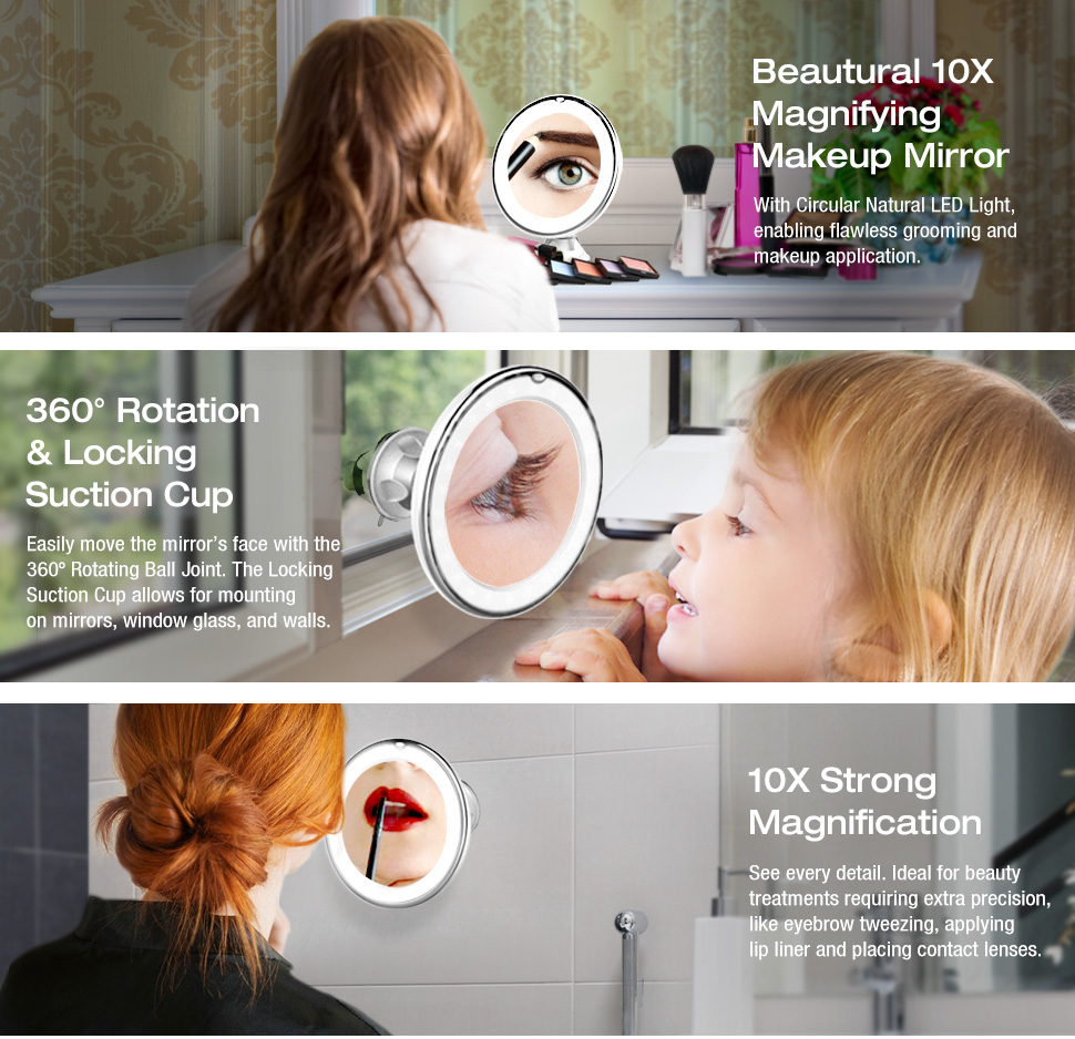 Amazon Com Beautural 10x Magnifying Lighted Vanity Makeup