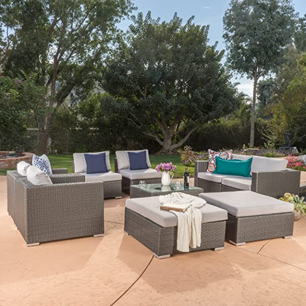 Outdoor Patio Furniture Sale Amazon: Amazon.com : Cortez Sea 9 Piece Outdoor Wicker Furniture