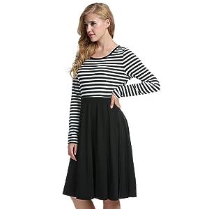 ACEVOG Women     s Vintage Stripes Patchwok A line Long Sleeve     Amazon com