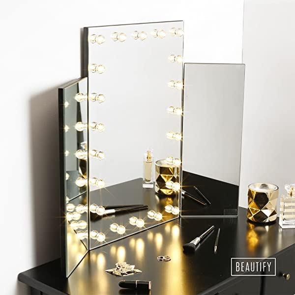 Mirrored Vanity Dressing Table Lights Led ~ Amazon beautify large trifold hollywood lighted