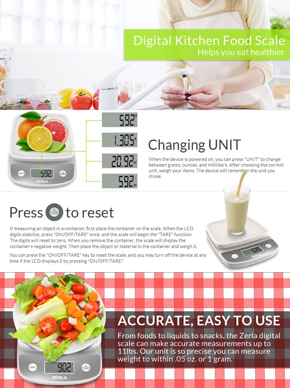 Amazon Com Digital Kitchen Scale By Zerla Versatile