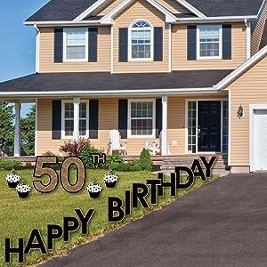 Amazon.com : Adult 50th Birthday - Gold - Yard Sign ...