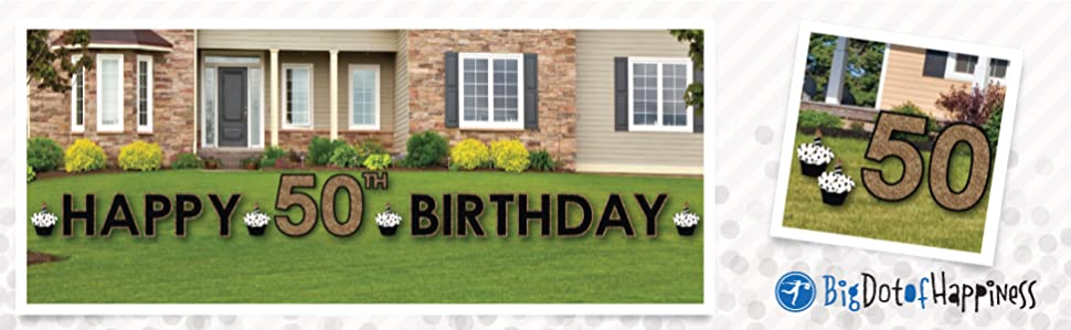 Amazon.com : Adult 50th Birthday - Gold - Yard Sign ... on Backyard Decorations Amazon id=26447