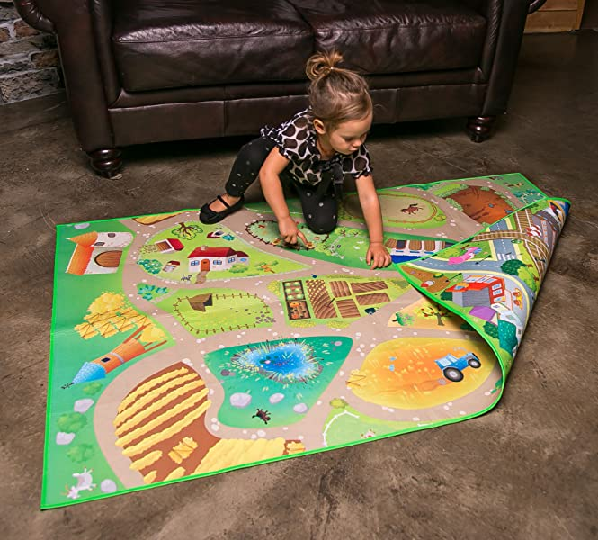 Amazon Com Kids Double Sided Felt Play Mat 2 In 1 City