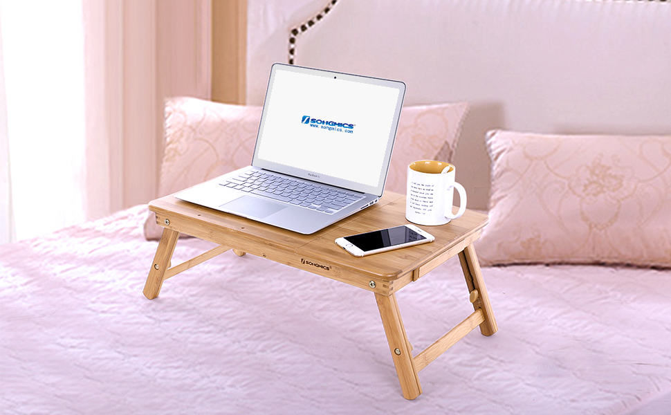 Amazon Com Songmics Bamboo Laptop Desk Adjustable