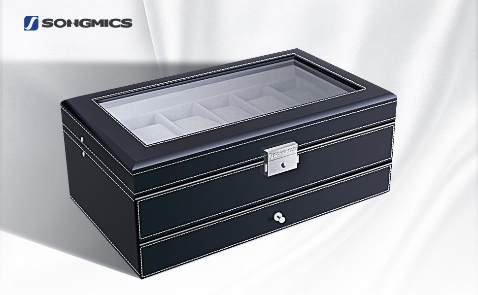 jewelry holder 12 men watch black leather organizer display storage case lock ebay. Black Bedroom Furniture Sets. Home Design Ideas