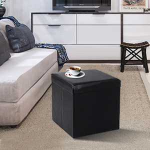 SONGMICS Faux Leather Folding Storage Ottoman Cube Foot Rest Stoo