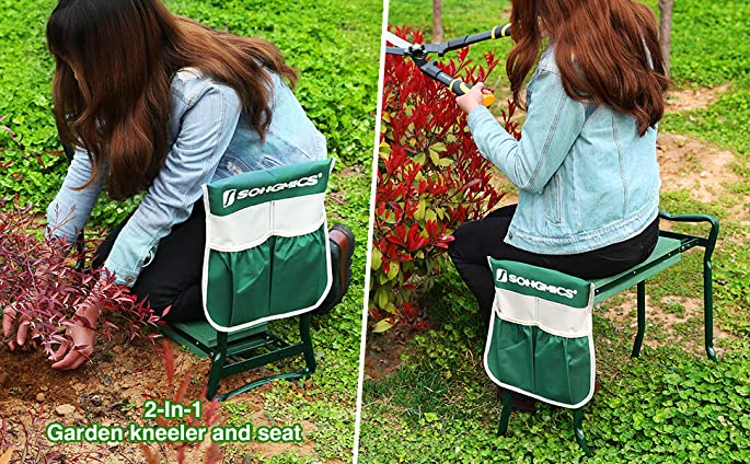 Amazoncom SONGMICS Garden Kneeler Bench with EVA Kneeling Pad