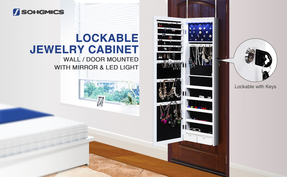 Amazon Com Songmics Lockable Jewelry Cabinet Wall Door
