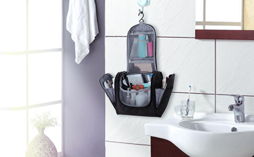 Amazoncom SONGMICS Hanging Toiletry Bag For Men Women Travel - Travel bag for bathroom items for bathroom decor ideas