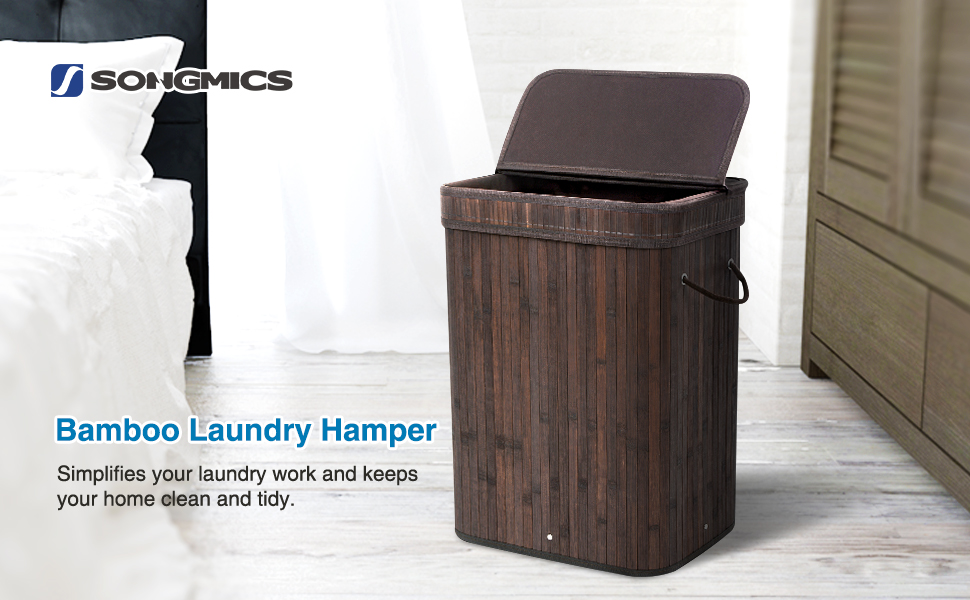 Bamboo Laundry Hamper Basket Wicker Clothes Storage Bag