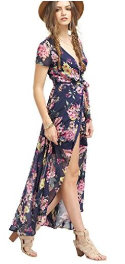 Milumia Women&-39-s Vintage Floral Print Split Wrap Maxi Dress at ...