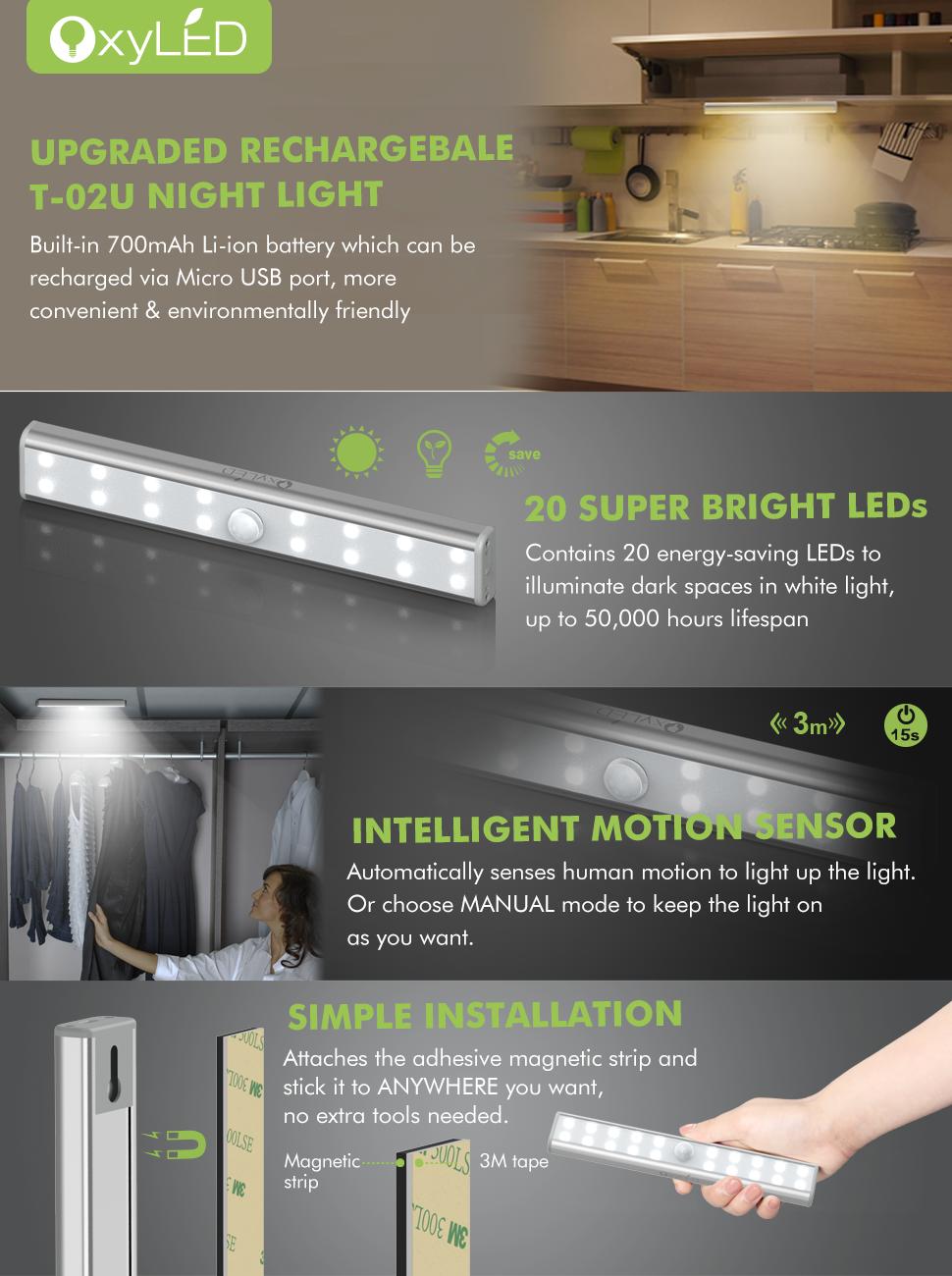 Wardrobe Light, OxyLED Motion Sensor Closet Lights, 20 LED Under ...