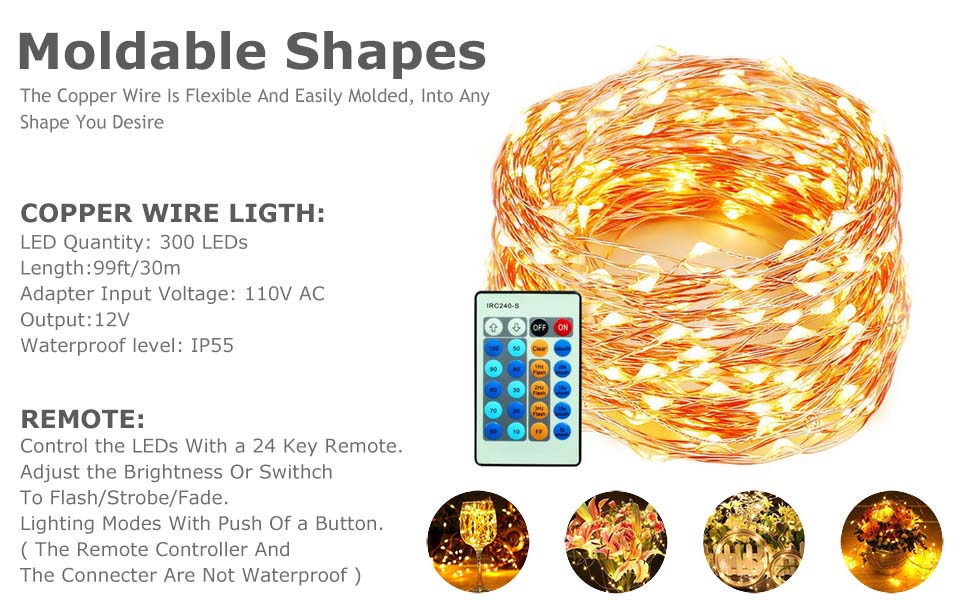 Amazon.com : xtf2015 Outdoor LED Lights Flexible Dimmable Copper Wire