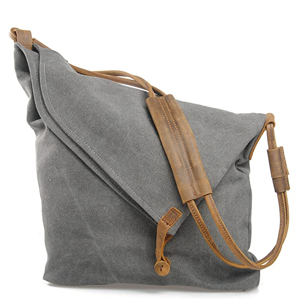 FXTXYMX Hobo Bags Canvas Leather Handbag Totes Shoulder Purse Fold ...