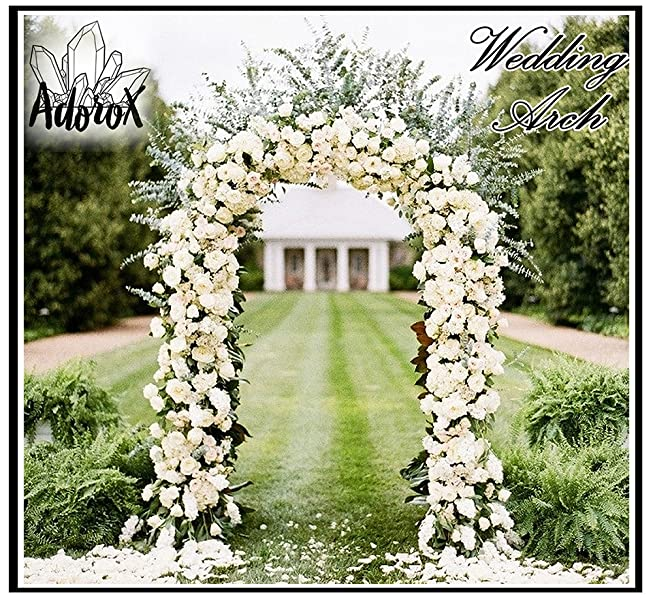 White Metal Garden Arch Archway Wedding Ceremony Flower Decorations