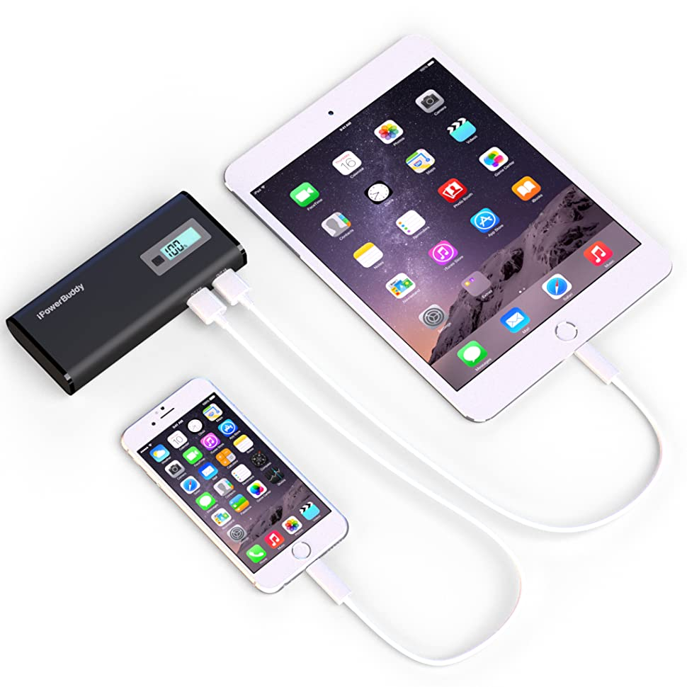portable phone charger for iphone samsung tablets ipowerbuddy 10000mah dual port. Black Bedroom Furniture Sets. Home Design Ideas