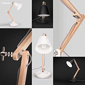 Tomons Swing Arm Desk Lamp Natural Wood Table Lamp