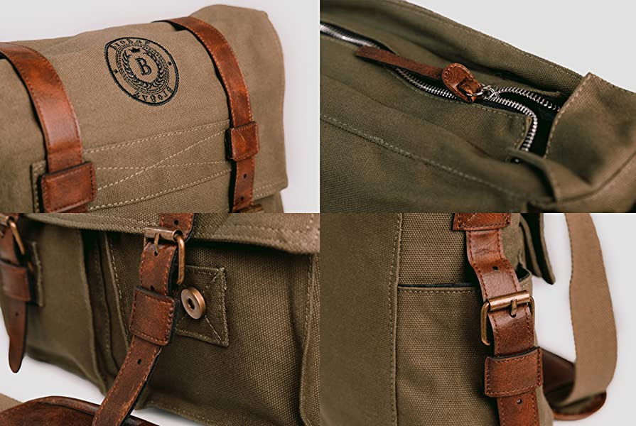 Amazon.com: BroBag Canvas and Leather Messenger Bag for Laptop or ...