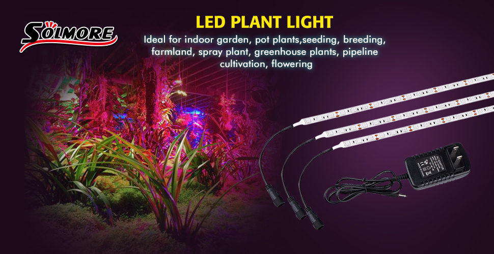 Solmore 3pcs 16ftstrip plant light grow light item type soft grow led strip size 50cmstrip wattage 6wstrip waterproof waterproof ip65 number of led 30 ledsstrip mozeypictures