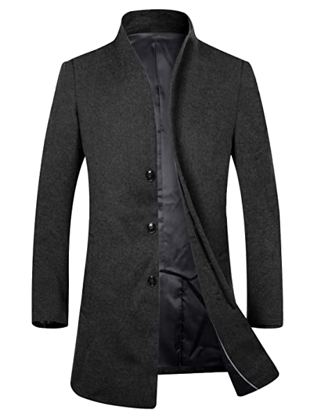 APTRO Men's Wool French Front Slim Fit Long Business Coat