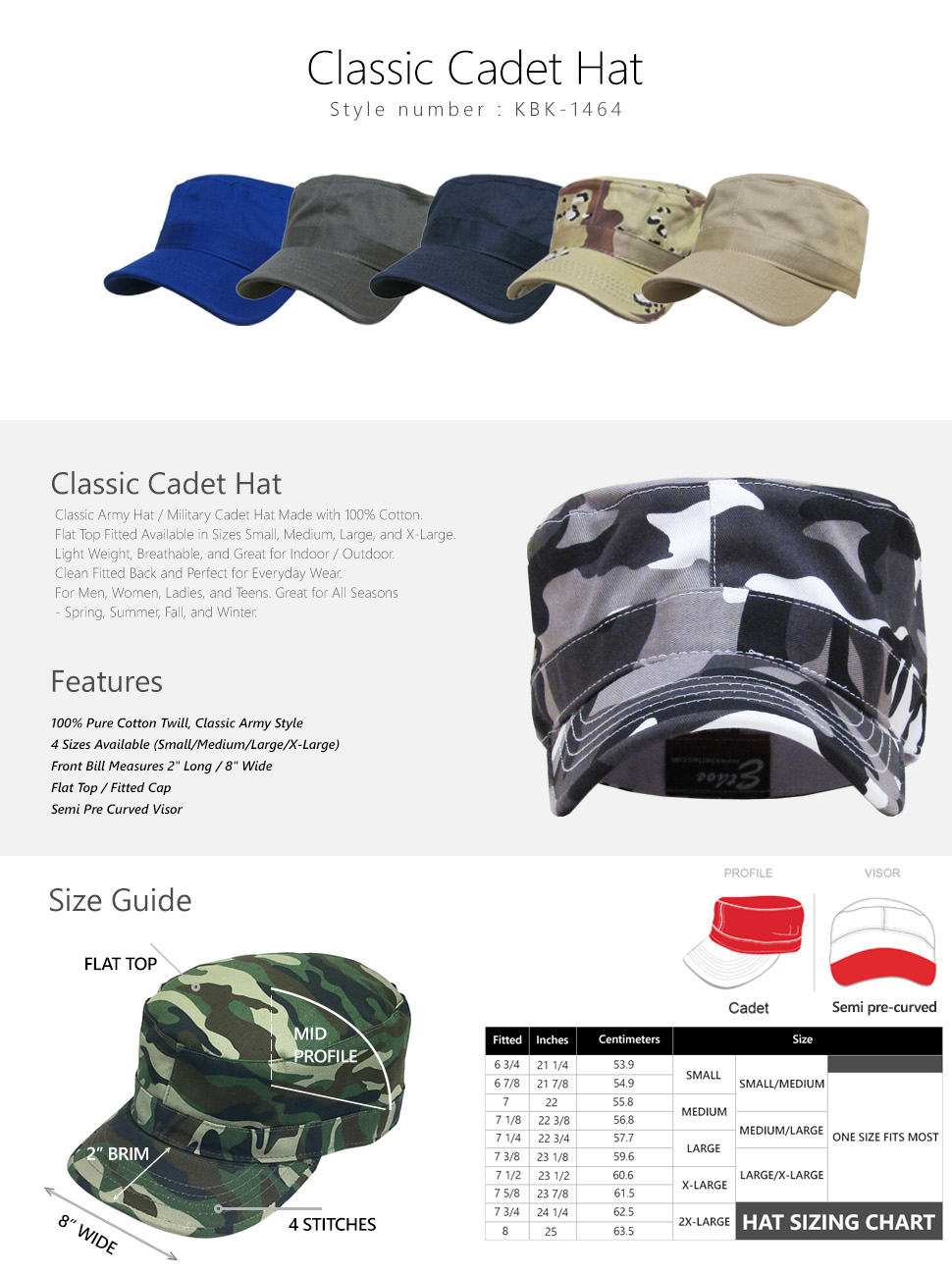 35e52eaa3ab5e KBETHOS CADET FITTED Caps Army Military Hats Men Cotton Summer Army ...