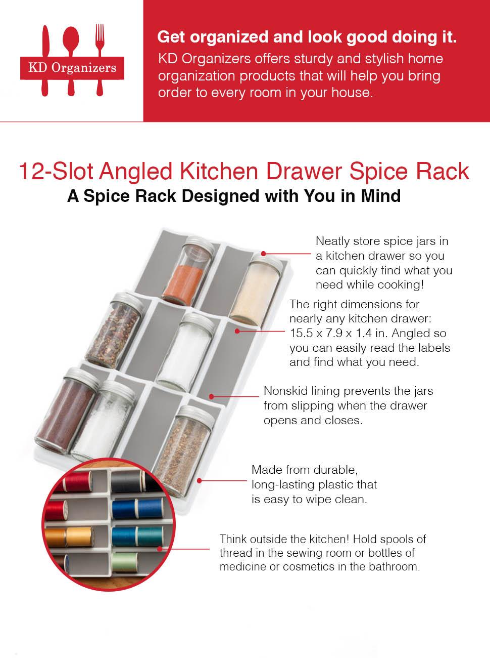 Kitchen drawer spice rack - Product Description