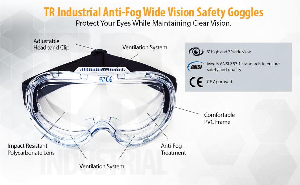 TR Industrial Anti-Fog Approved Wide-Vision Lab Safety ...