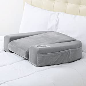 Bed Rest Pillow With Cup Holder Arms Large Gray Support