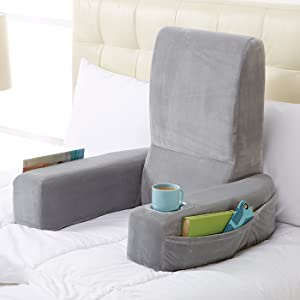 bed rest pillow with cup holder arms large gray support relax plush cushion ebay. Black Bedroom Furniture Sets. Home Design Ideas