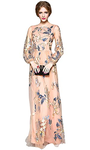 Dezzal Women's Embroidered Floral Spliced Tulle Maxi