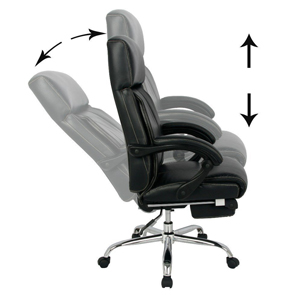 High Back Ergonomic Bonded Leather Chair With Adjustable Back Angle And  Footrest Lets You Do Your Office Tasks In A Relaxed Manner.