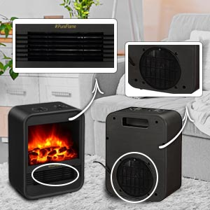 Electric Portable Heater Fireplace Adjustable Thermostat 9 Inch 1250w Black Ebay