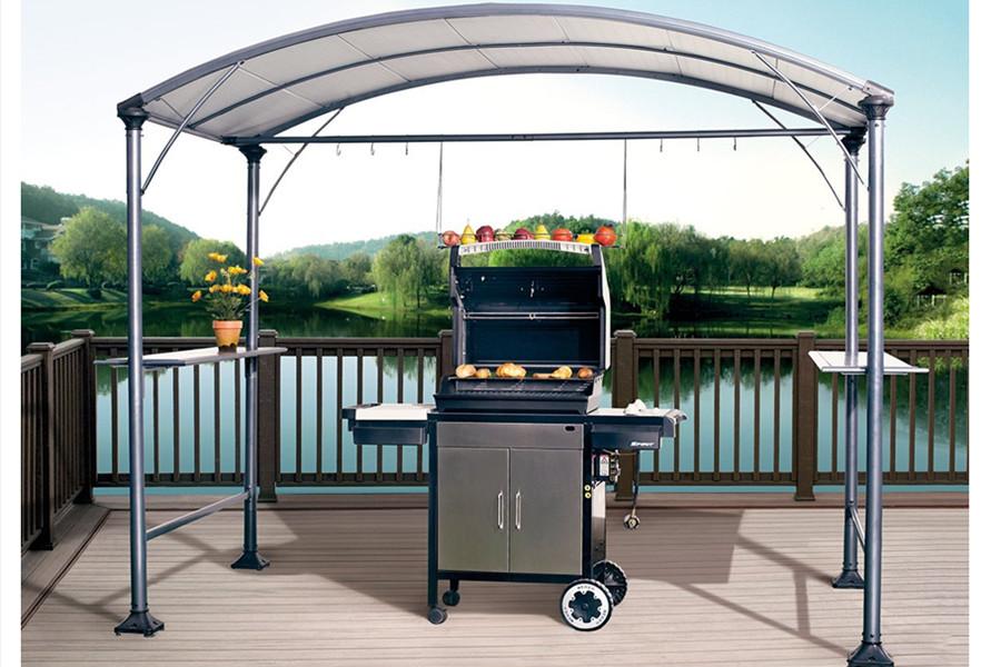 Abba patio 9 39 x 5 39 outdoor backyard bbq grill gazebo with steel canopy gray ebay - Gazebo get upcoming barbecues ...