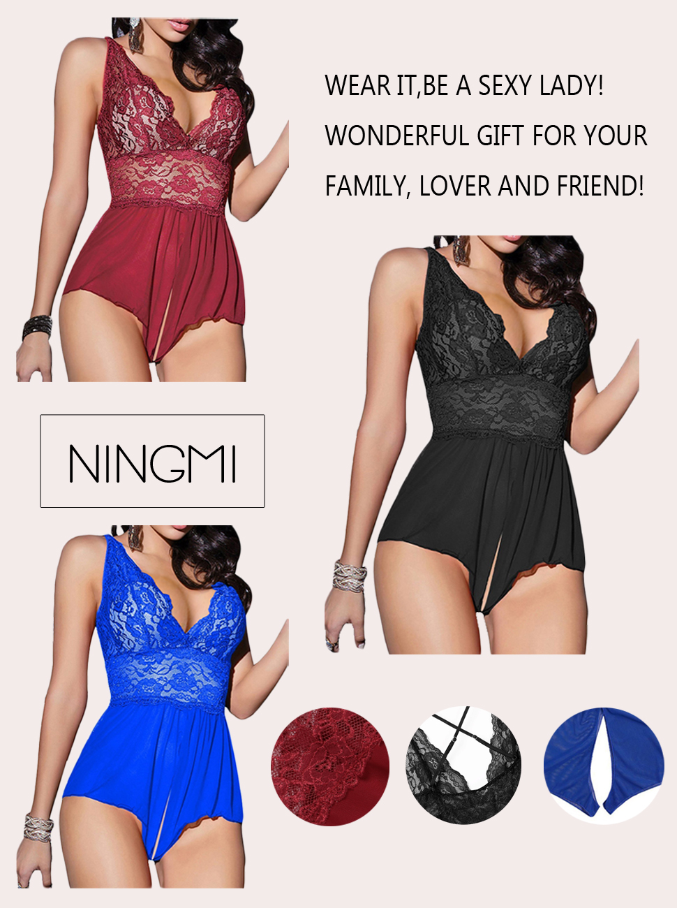 NINGMI Deep-V Lace Babydoll Lingerie Perspective Nightwear Sexy