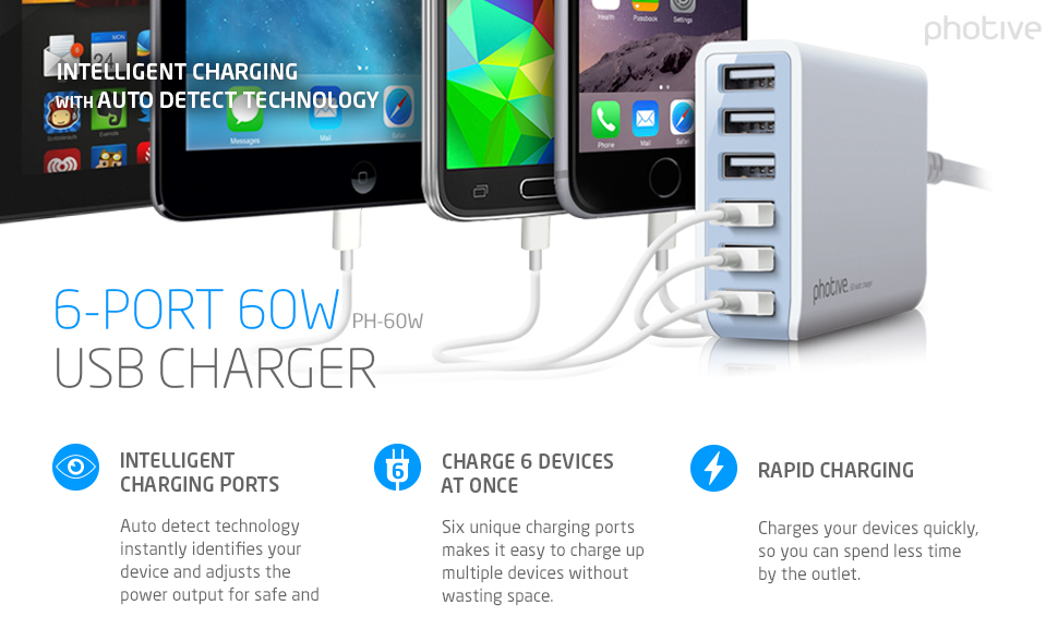 Amazon.com: Photive 60 Watt 6 Port USB Desktop Rapid Charger ...