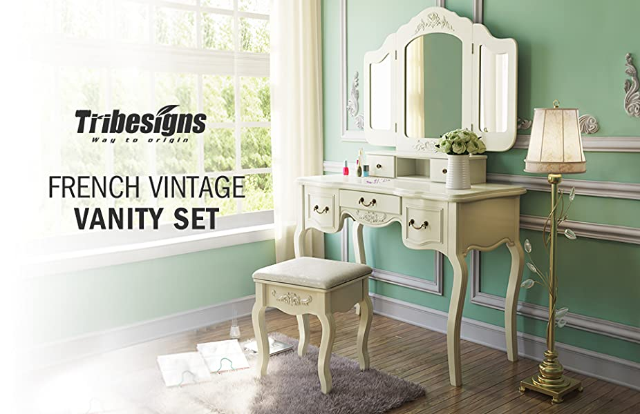 Amazon Com Tribesigns French Vintage Ivory White Vanity