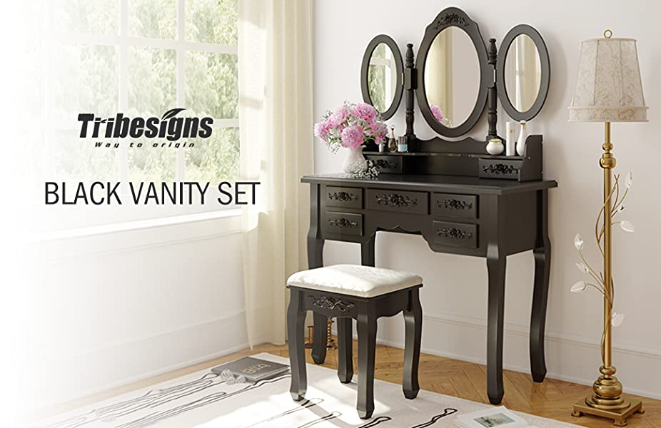 Tribesigns Black Vanity Set With 3 Mirror & Stool, Makeup Desk Bedroom  Dressing Table