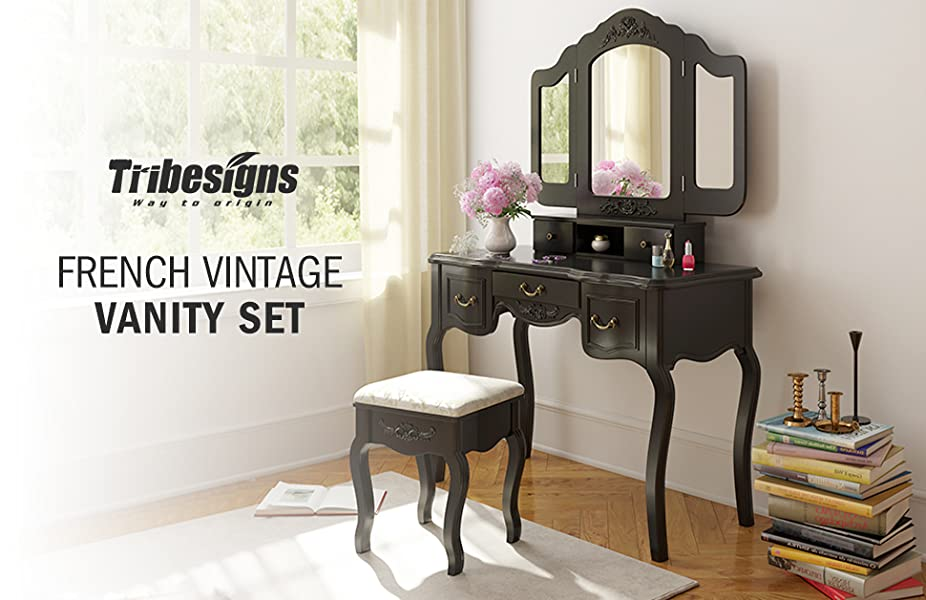 Tribesigns French Vintage Makeup Vanity Table Set with Folding Mirror &  Padded Stool - Tribesigns Vanity Makeup Table Set, French Vintage Vanity Dressing