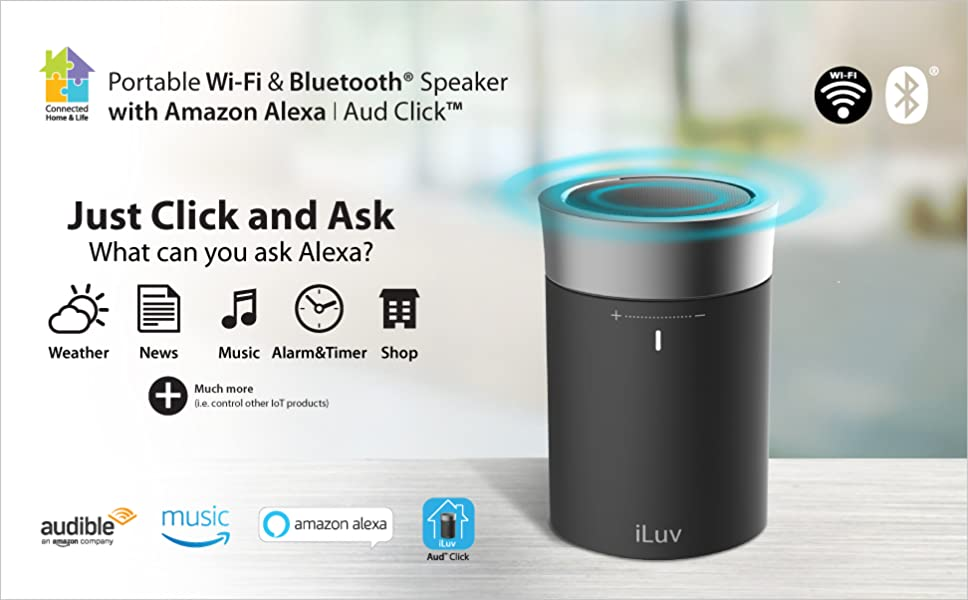 iLuv Aud Click, Portable WiFi & Bluetooth Speaker with
