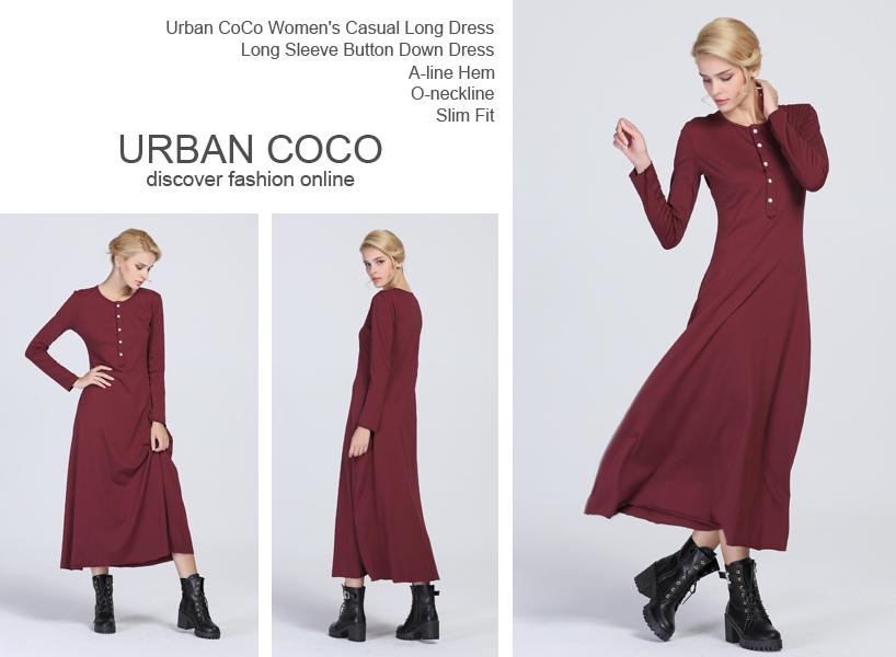 Urban CoCo Women's Casual Long Dress Long Sleeve Button Down Dress ...