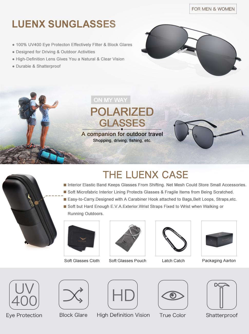 1b0994b23f LUENX Aviator Sunglasses Polarized for Men Women with Sun Glasses ...