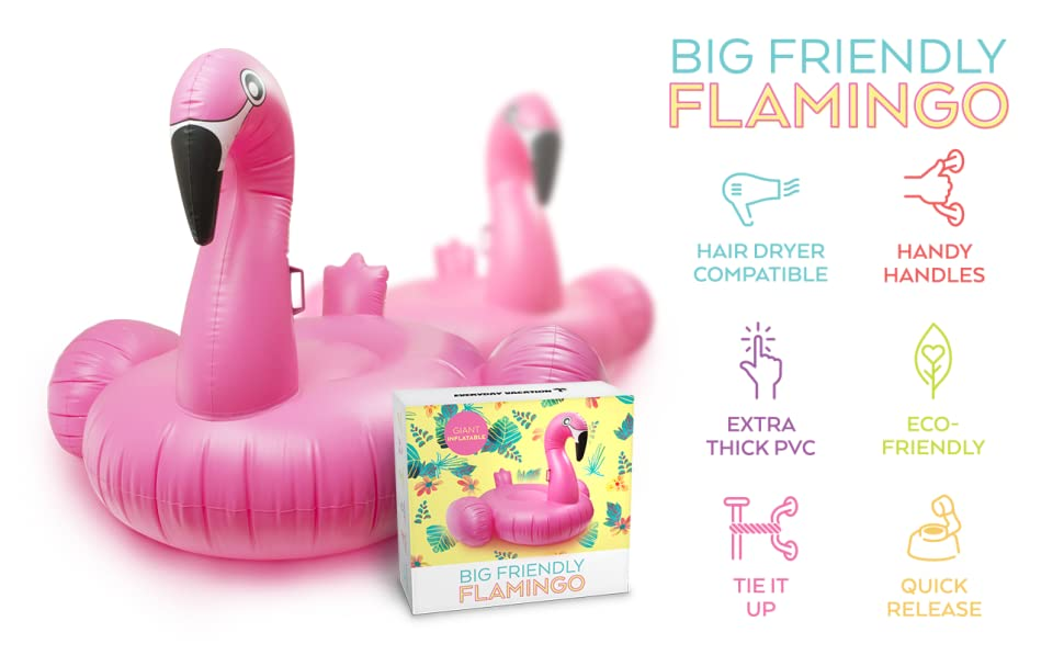 Giant inflatable pink flamingo float 39 no pump - Amazon inflatable swimming pool toys ...